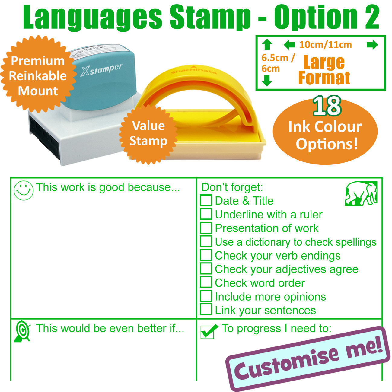 Medium Check Spelling Teacher Self Inking Rubber Stamp Red Ink