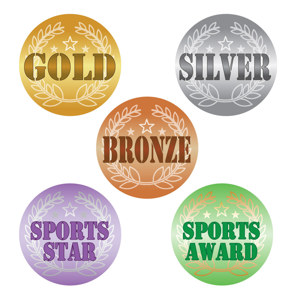 sports stickers gold silver bronze sports star. Black Bedroom Furniture Sets. Home Design Ideas