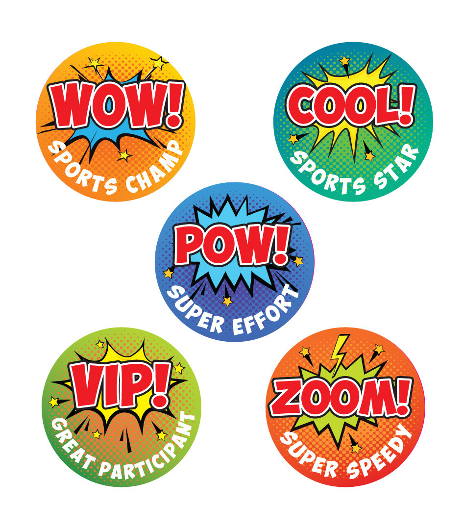Sports stickers wow cool pow vip zoom superhero pop art sports stickers free delivery