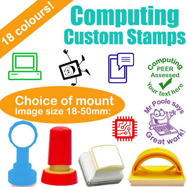 Custom stamps computing technology subject personalised teacher stamps
