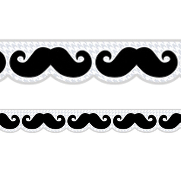 Classroom Borders Mustache Mania Shaped Trimmers