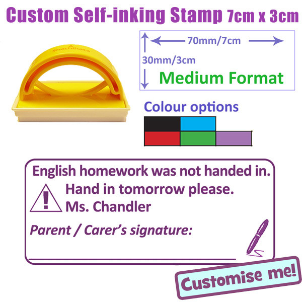 Custom teacher stamp homework not handed in hand in tomorrow parent carer