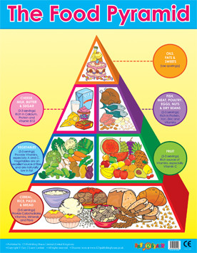 Wall charts food pyramid healthy eating wall poster for 3d cuisine boe