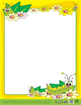 Posters Cute Caterpillar Border Wipe Off Poster For