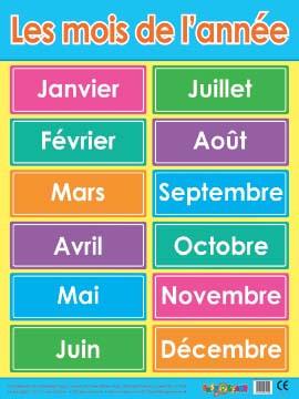 Posters les mois de l 39 ann e poster french free delivery for Dans 6 mois en anglais