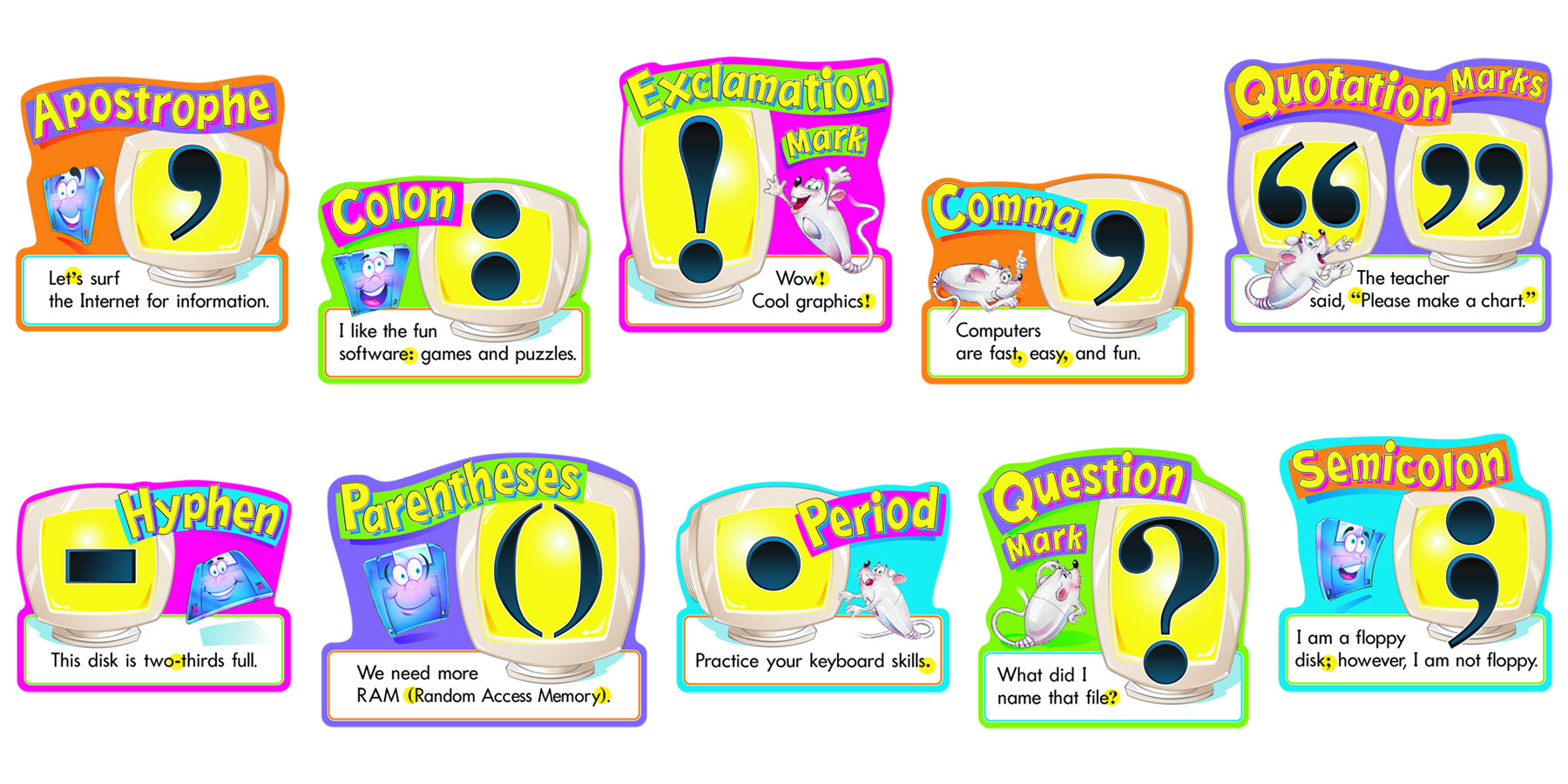 classroom wall charts punctuation learning chart set free delivery uk eu. Black Bedroom Furniture Sets. Home Design Ideas
