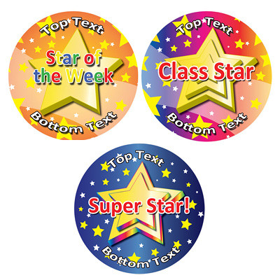 Personalised stickers for kids star designs to customise for teachers