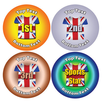 Personalised stickers for kids union jack sports designs to customise for teachers