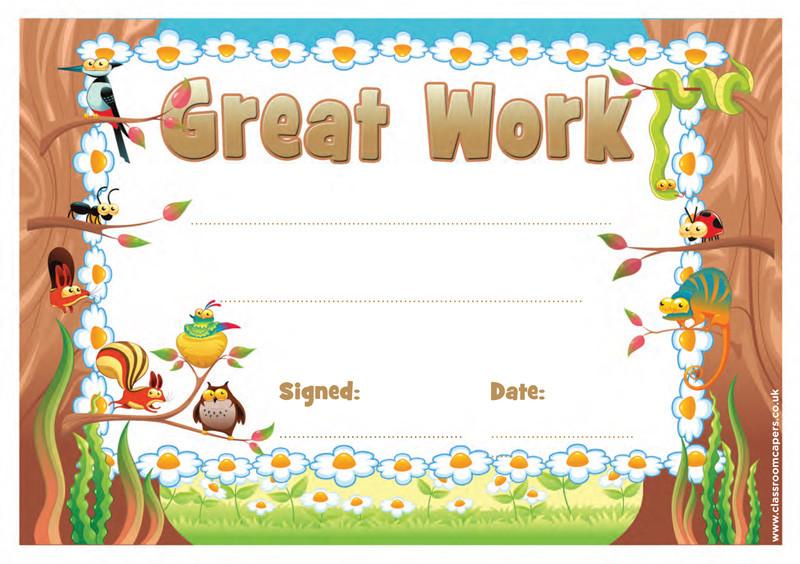 School Certificates | Great Work -30 Certificates for Kids ...