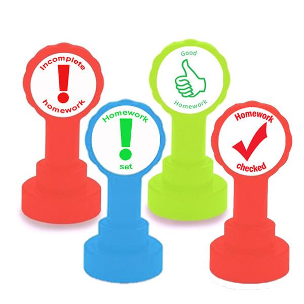 Teacher Stamps | Homework Marking 4 Stamp Set. Free delivery