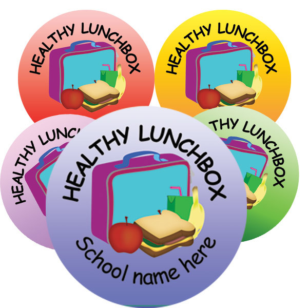 Personalised stickers healthy lunch box 5 colours
