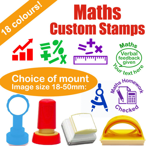Custom stamps maths numeracy personalised rubber stamps