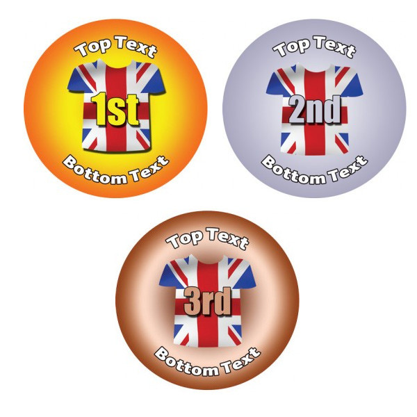 Personalised stickers first second third place union jack flag tshirt design
