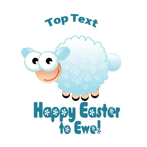 Personalised stickers for teachers happy easter to ewe cute lamb design to customise