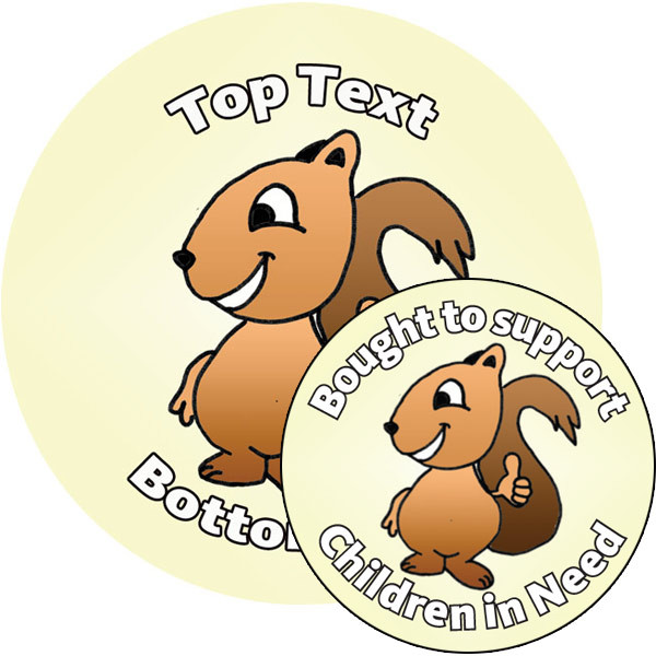 Personalised stickers for kids customise this thumbs up cartoon squirrel sticker to delight kids