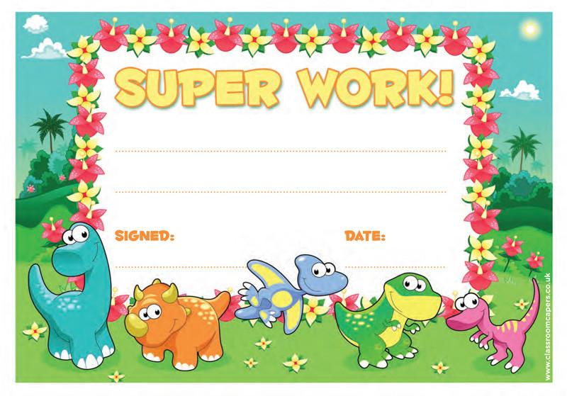 School Certificate | Super Work -30 Dinosaur Design Certificates for ...