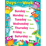 School Posters Owl Stars Days Of The Week Learning Chart