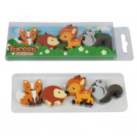 Fox Carded Pack of 4 Deer Squirrel Forest Friends Erasers Hedgehog