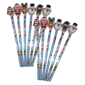 Christmas Cheap Gifts | Christmas Pencils with Santa, Snowman, Rudolph Topper Erasers