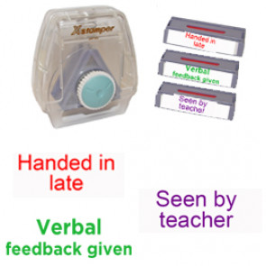 School Stamps | 3-in-1 Teacher MultiStamp: Handed in late, Seen by teacher, Verbal feedback given