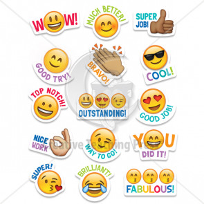 Kids Stickers | Emoji Teacher Reward Stickers. Mixed, Large Sizes