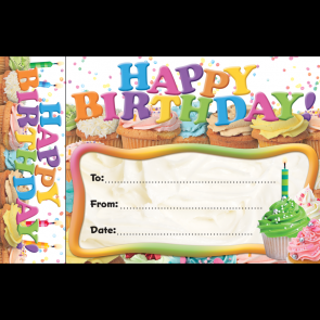 Birthday Certificates | Happy Birthday Cupcake Certificates and Bookmark.