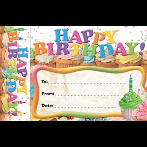 Birthday Certificates | Happy Birthday Cupcake Certificates and Bookmark.