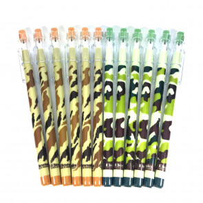 Party Bag Fillers | 12 x Camouflage Pop a Point Pencils. Cheap Kids Gift