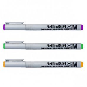 OHP/Whiteboard Pens | Artline EK-804 - Orange, Purple, Green Pen Set