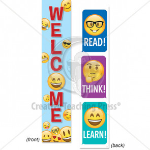 Classroom Display | Welcome / Read, Think Learn Emoji 2-sided Banner.