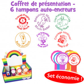 School Stamps | 6 French Marking Self-Inking Teacher Stamp Box Set