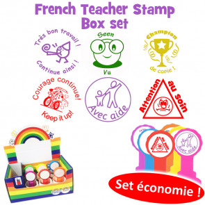 School Stamps | French Teacher Stamp Box Set, 6 Self-inking Stamps