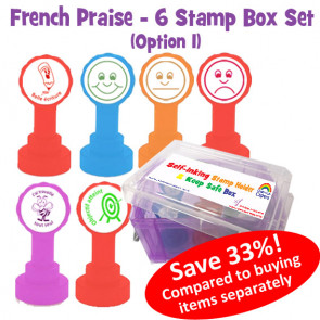 Teacher Stamp Box | French Marking Self-Inking Stamps in a Handy Transportation and Storage Box