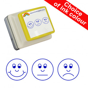 School Stamps | 3 faces self-assessment stamp for teachers-Happy, Sad, Flat Face Expressions