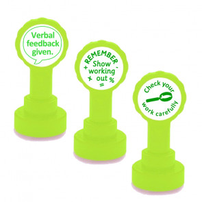 Stamp Set - Verbal Feedback, Show your working out, Check your work carefully - Self-Inking Stamp Set