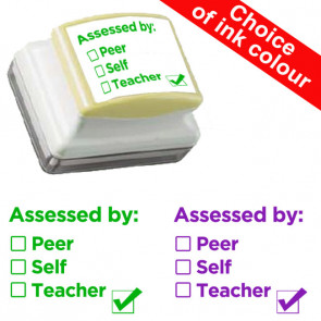 School Stamps | Assessment Self-inking Stamp 'Assessed by: Peer / Self / Teacher'.