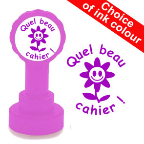 Teacher Stamp | Quel  beau cahier! Self-inking French Stamp for Schools. Purple ink