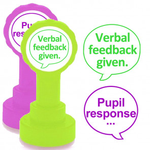 Teacher Stamps | Verbal feedback given and Pupil response - 2 stamper set