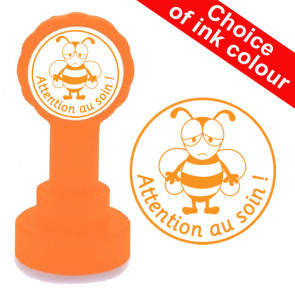 Teacher Stamp | Attention au soin-Busy Bee Image, French Language Teacher Stamp