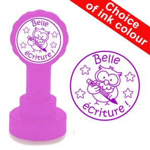Teacher Stamp | Belle écriture - Owl Design, French Language Stamp