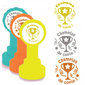 School Stamps | Champion de copie Trophy Design in Gold, Silver/Grey, Bronze Ink