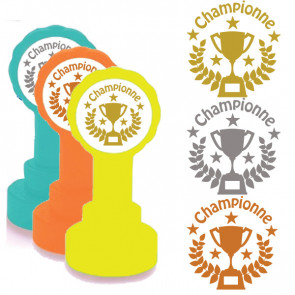 School Stamps | Championne Trophy Design in Gold, Silver/Grey, Bronze Ink