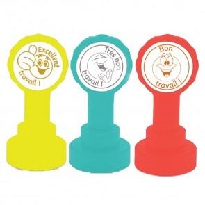 French Teacher Stamps | Excellent travail, Très Bon Travail, Bon Travail 3 Stamp Set.