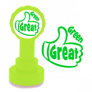 Teacher Stamp | Green Great, Thumbs up School Stamp