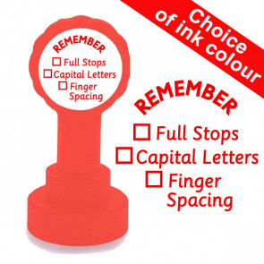 Teacher Stamp | Remember Capital Letters, Full Stops and Finger Spacing