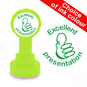 Teacher Stamp | Excellent Presentation, Thumbs Up Design - Choice of ink colour