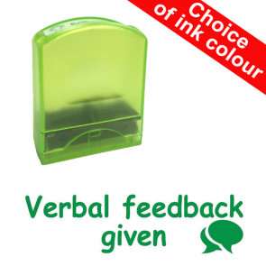 School stamps | Verbal feedback given - Speech Bubble Design Value Stamp