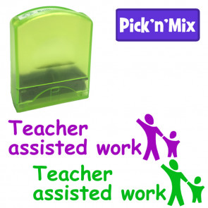 School stamps | Teacher assisted work, Green or Purple Ink, Holding Hands Design Value Stamp