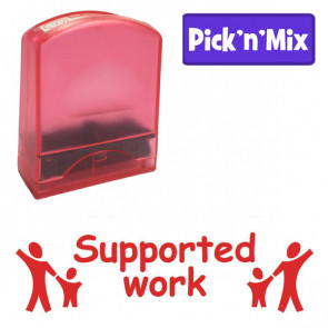 School stamps | Supported work, Scarlet Colour Ink, Holding Hands Design Value Stamp