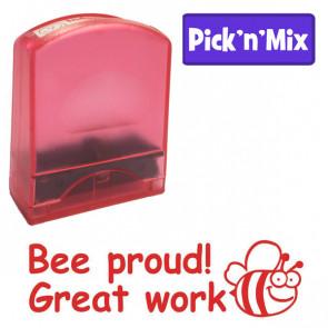 School Stamper | Red ink, Cute bee design, Great Work, Praise Stamp.